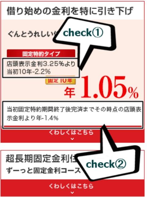 当初適用固定金利1.05%と当初固定期間終了後は1.4%差し引く説明文