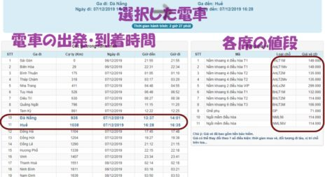 ベトナム鉄道ホームページ、入力確認画面