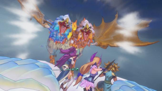 主人公の前に姿を現す聖剣伝説3リメイク風の神獣ダンガード戦
