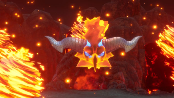 主人公の前に姿を現す聖剣伝説3リメイク火の神獣ザン・ビエ