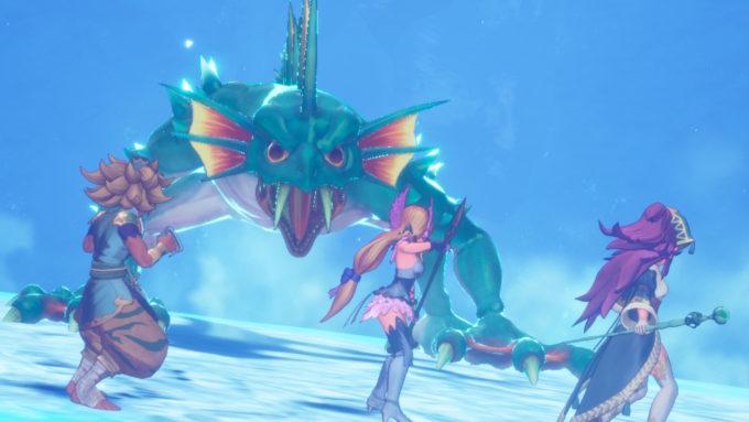 主人公の前に姿を現す聖剣伝説3リメイク水の神獣フィーグムンド