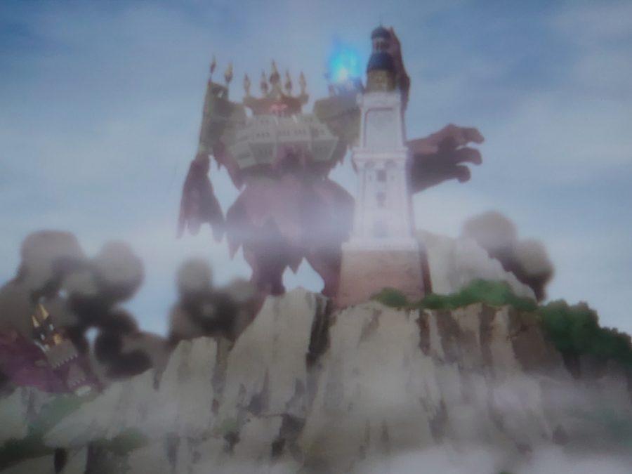 右腕をダイに破壊される鬼岩城