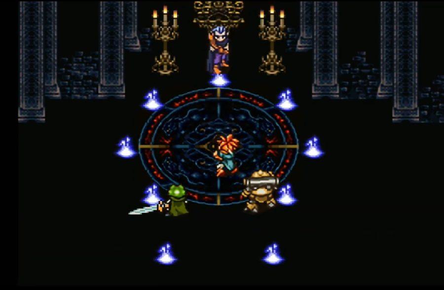 魔王と対面するカエルとクロノとロボ